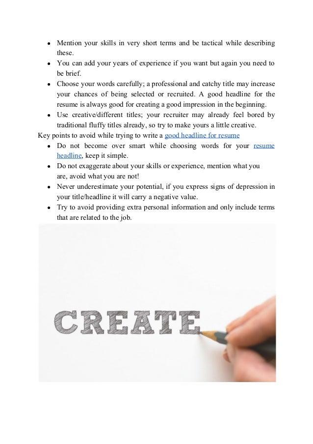 how to generate resume headline ideas