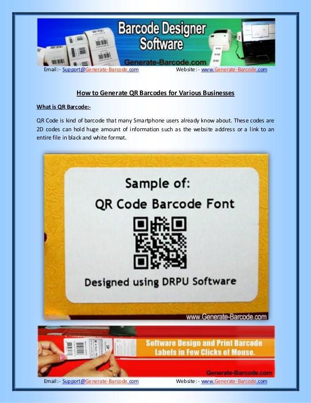 Email:- Support@Generate-Barcode.com Website: - www.Generate-Barcode.com Email:- Support@Generate-Barcode.com Website: - w...