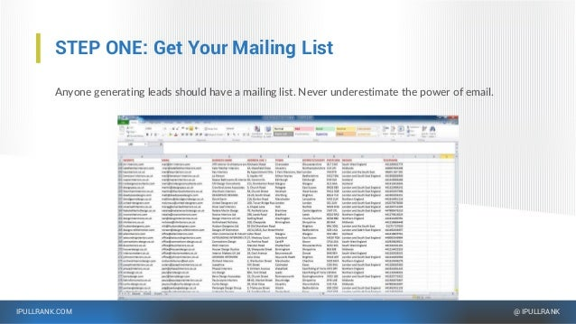 IPULLRANK.COM @ IPULLRANK STEP ONE: Get Your Mailing List Anyone generating leads should have a mailing list. Never undere...