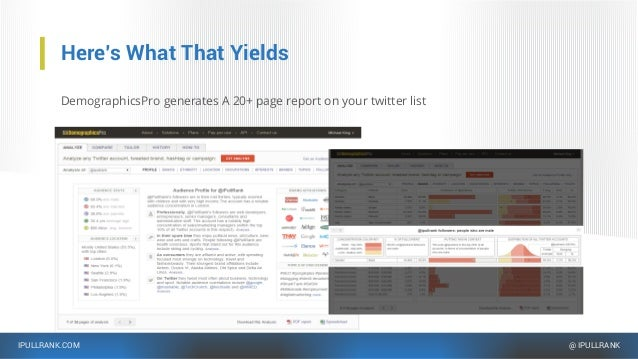 IPULLRANK.COM @ IPULLRANK Here's What That Yields DemographicsPro generates A 20+ page report on your twitter list