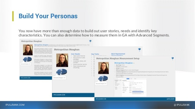 IPULLRANK.COM @ IPULLRANK Build Your Personas You now have more than enough data to build out user stories, needs and iden...