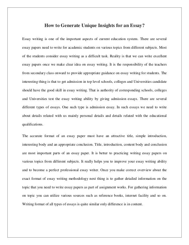 How To Generate Unique Insights For An Essay? Essay Writing Is One Of The  Important ...
