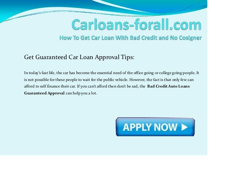 GetGuaranteedCarLoanApprovalTips:Intoday'sfastlife,thecarhasbecometheessentialneedoftheofficegoingorc...