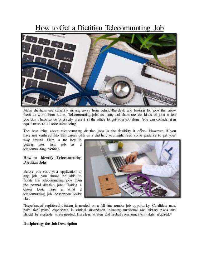 Dieian Job Description | How To Get A Dietitian Telecommuting Job