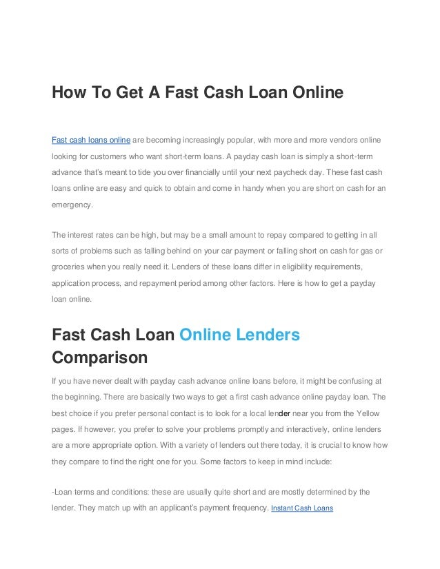 How To Get A Fast Cash Loan Online Fast cash loans online are becoming increasingly popular, with more and more vendors on...