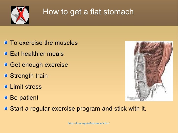 How to get a flat stomach  <ul><li>To exercise the muscles </li></ul><ul><li>Eat healthier meals </li></ul><ul><li>Get eno...