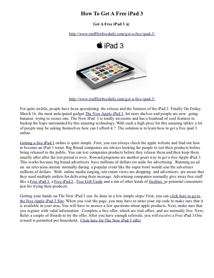 How To Get A Free iPad 3                                             Get A Free iPad 3 @                              http...