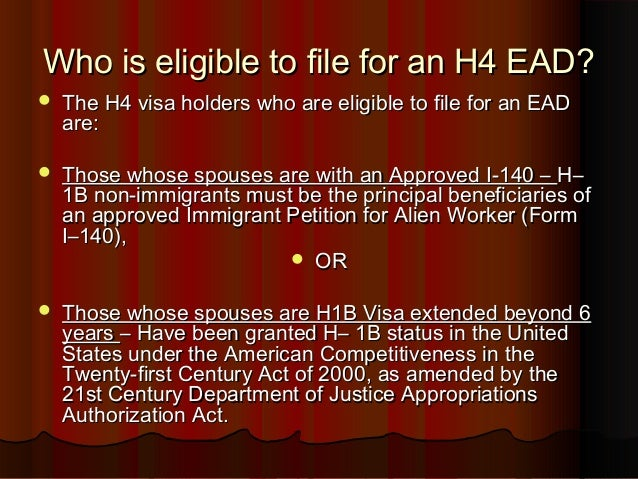 Who can apply for an H4 EAD?