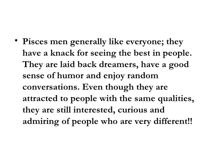 Dating characteristics pisces male