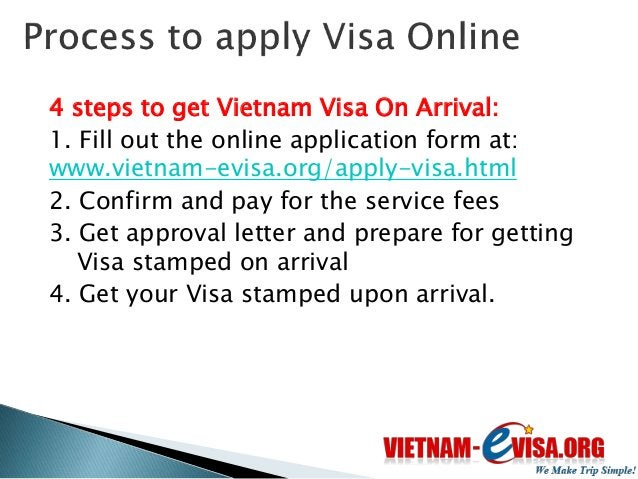 Upon arrival to Vietnam International Airports, you present:  Passport  Visa approval letter  2 passport sized photos ...