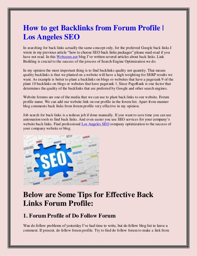 How To Get Backlinks From Forum Profile |Web Cures