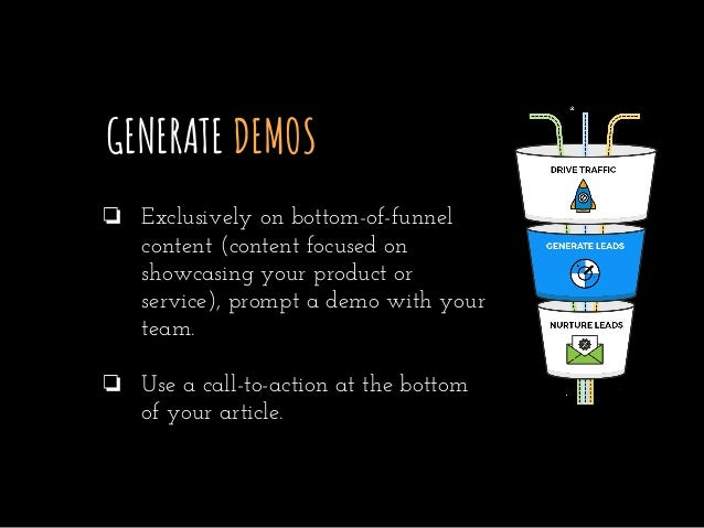GENERATE DEMOS ❏ Exclusively on bottom-of-funnel content (content focused on showcasing your product or service), prompt a...