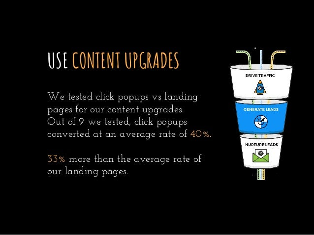 USE CONTENT UPGRADES We tested click popups vs landing pages for our content upgrades. Out of 9 we tested, click popups co...