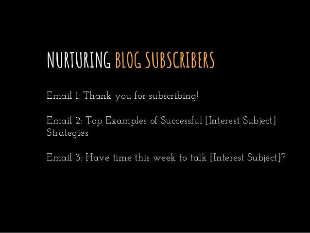 NURTURING BLOG SUBSCRIBERS Email 1: Thank you for subscribing! Email 2: Top Examples of Successful [Interest Subject] Stra...