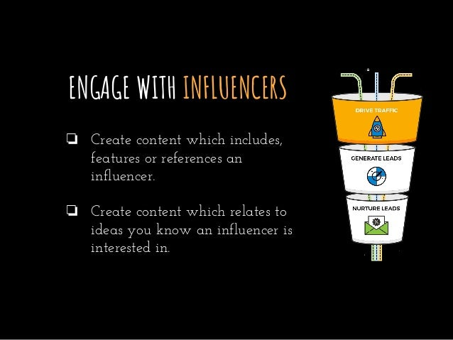 ENGAGE WITH INFLUENCERS ❏ Create content which includes, features or references an influencer. ❏ Create content which rela...