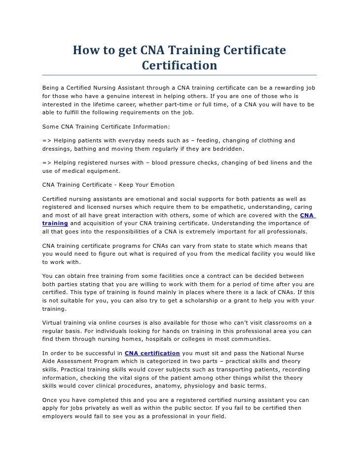 How To Get Cna Training Certificate Certification