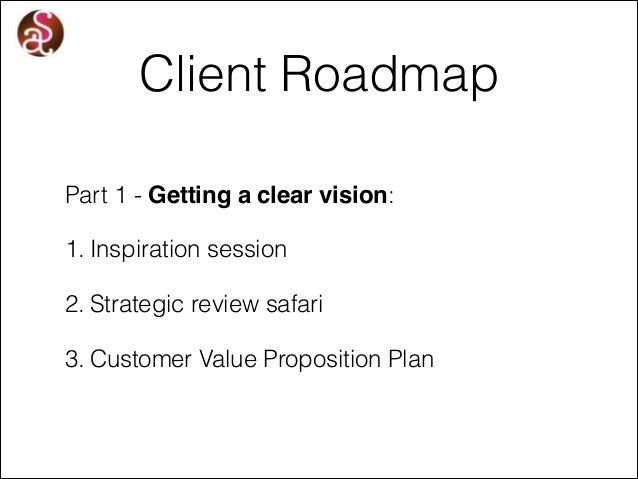 Client Roadmap Part 1 - Getting a clear vision: 1. Inspiration session 2. Strategic review safari 3. Customer Value Propos...