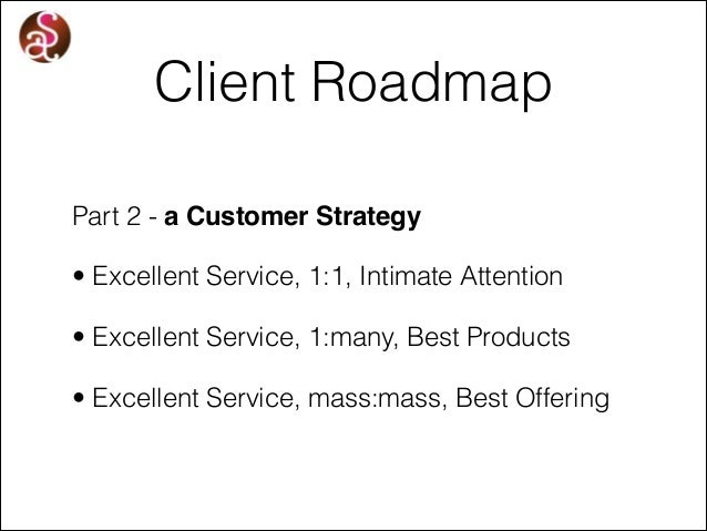 Client Roadmap Part 2 - a Customer Strategy • Excellent Service, 1:1, Intimate Attention • Excellent Service, 1:many, Best...