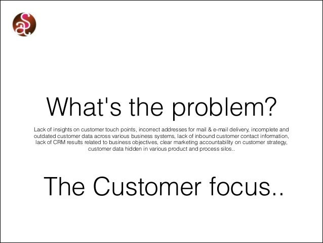 What's the problem? Lack of insights on customer touch points, incorrect addresses for mail & e-mail delivery, incomplete ...