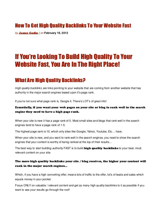 How To Get High Quality Backlinks To Your Website Fastby James Godin | on February 19, 2013If You're Looking To Build High...
