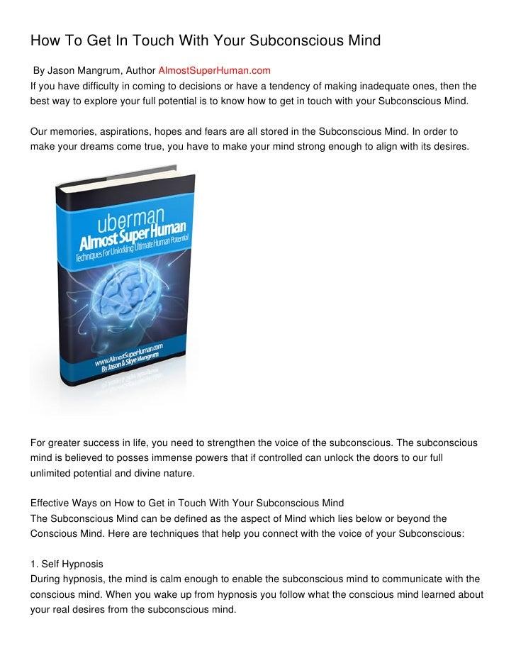 Self Hypnosis: Unlocking Your Subconscious Mind