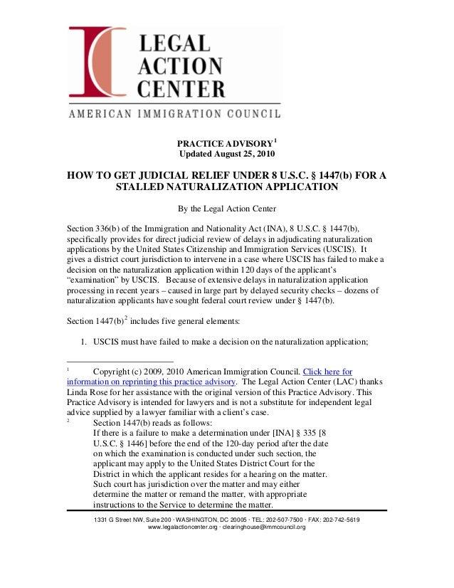 PRACTICE ADVISORY 1                                   Updated August 25, 2010HOW TO GET JUDICIAL RELIEF UNDER 8 U.S.C. § 1...
