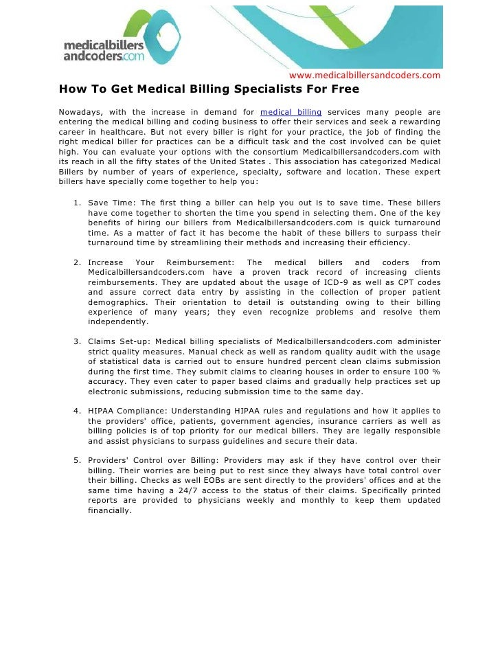 How To Get Medical Billing Specialists For Free<br />Nowadays, with the increase in demand for medical billing services ma...