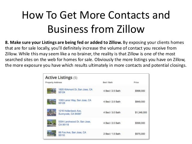 How to get more contacts and business from zillow for Call zillow