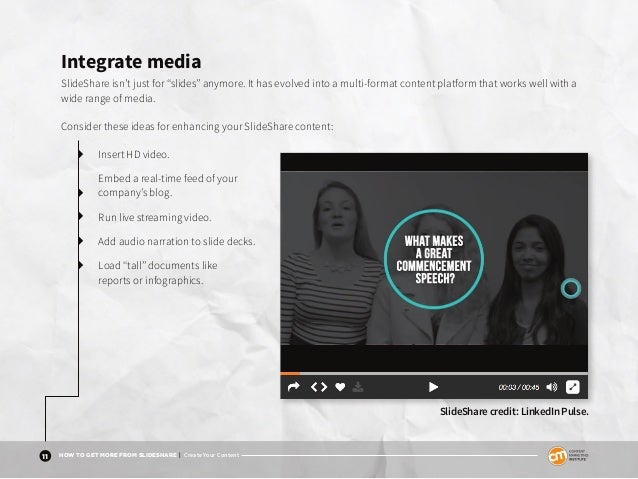 "11 HOW TO GET MORE FROM SLIDESHARE | Create Your Content Integrate media SlideShare isn't just for ""slides"" anymore. It ha..."