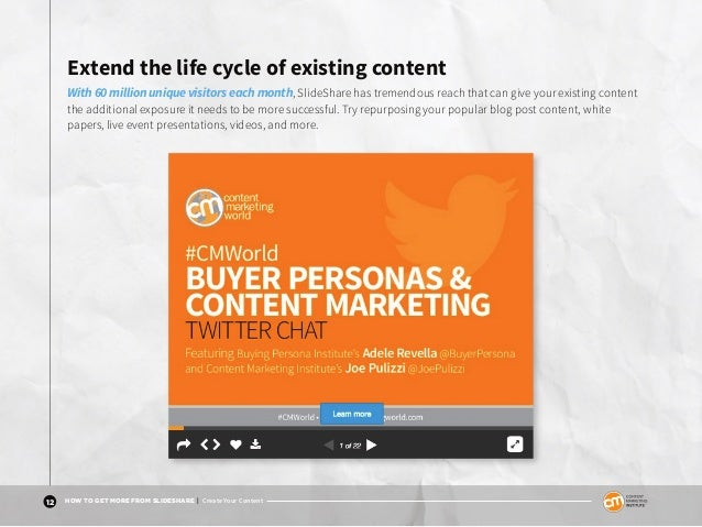 12 HOW TO GET MORE FROM SLIDESHARE | Create Your Content Extend the life cycle of existing content With 60 million unique ...