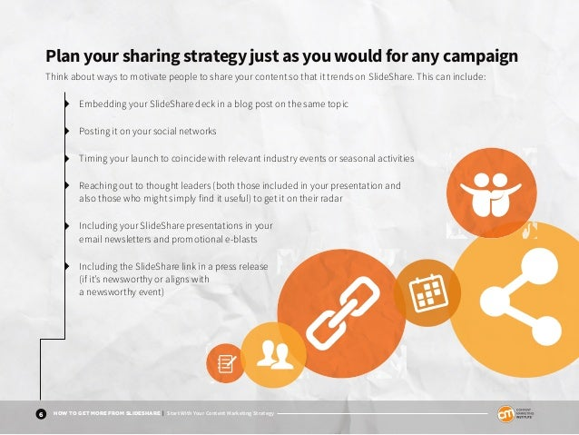 6 HOW TO GET MORE FROM SLIDESHARE | Start With Your Content Marketing Strategy Plan your sharing strategy just as you woul...