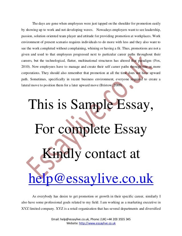 how to get promotion essay sample