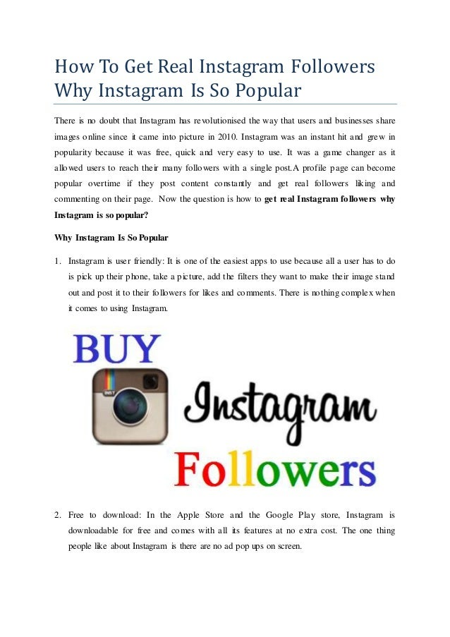 How To Get Real Instagram Followers Why Instagram Is So