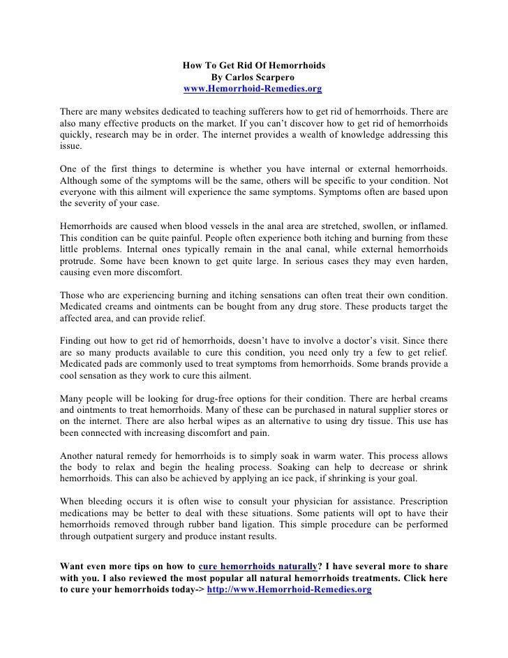 How To Get Rid Of Hemorrhoids                                    By Carlos Scarpero                               www.Hemo...