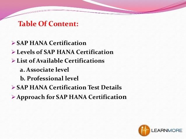 sap hana certification