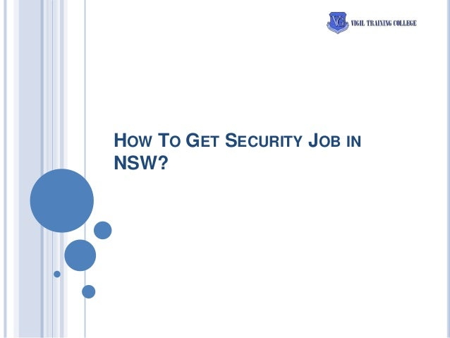 HOW TO GET SECURITY JOB IN NSW?