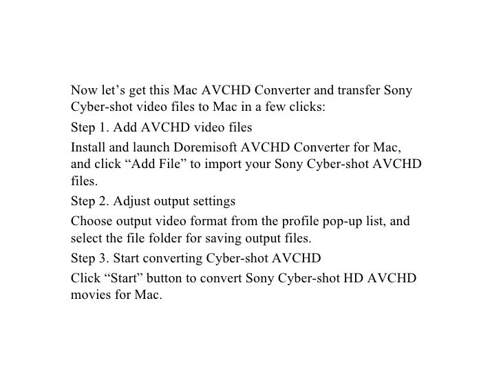How to get sony cybershot hd avchd videos on mac