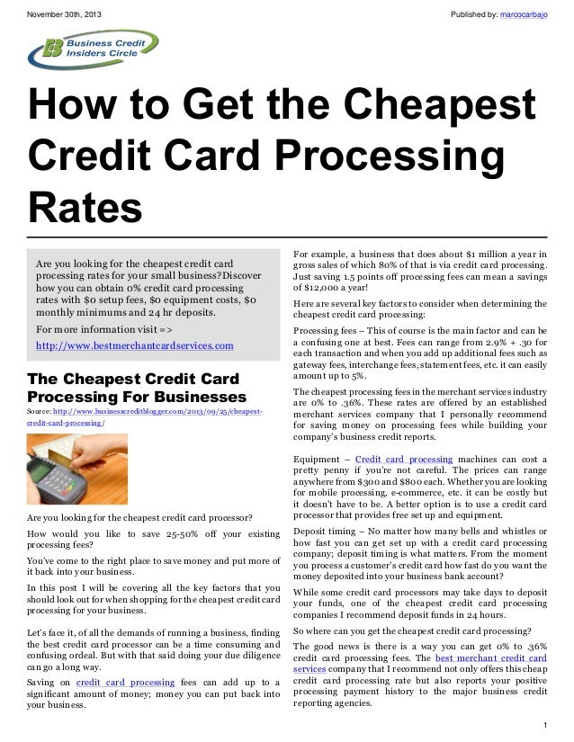 How to get the cheapest credit card processing rates november 30th 2013 published by marcocarbajo how to get the cheapest credit card processing colourmoves
