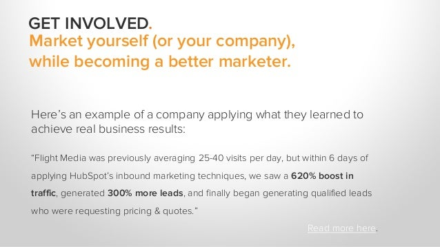 Market yourself (or your company), while becoming a better marketer. Here's an example of a company applying what they lea...