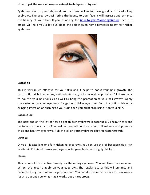 How To Get Thicker Eyebrows