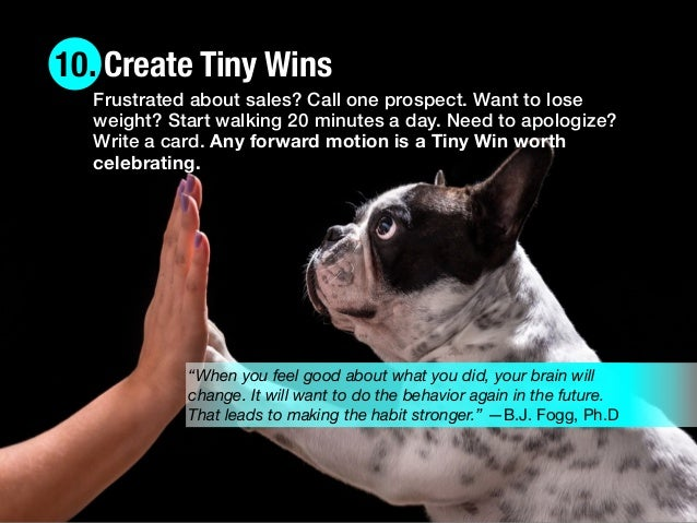"10. Create Tiny Wins ""When you feel good about what you did, your brain will change. It will want to do the behavior again..."