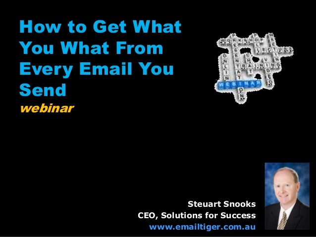 How to Get What You What From Every Email You Send webinar Steuart Snooks CEO, Solutions for Success www.emailtiger.com.au
