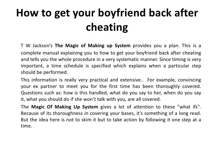 How to get your boyfriend back after cheating