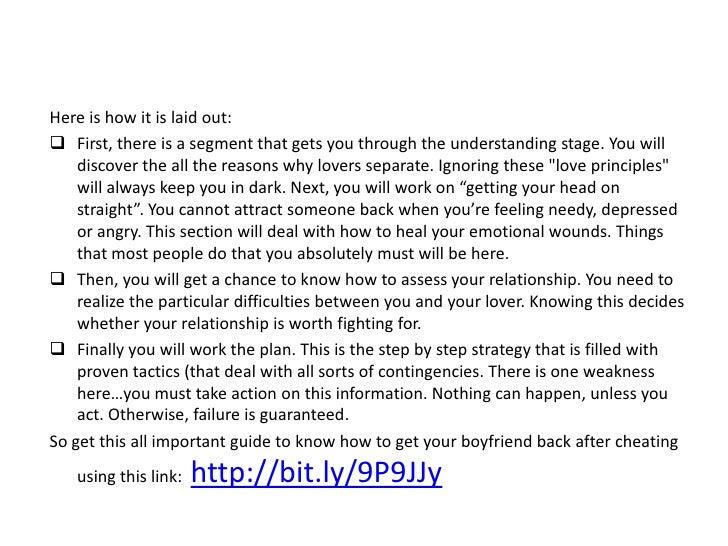 How do i get my boyfriend back after cheating, benny benassi