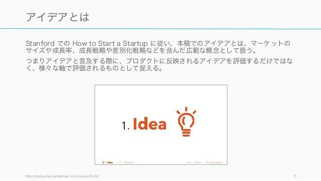 Stanford での How to Start a Startup に従い、本稿でのアイデアとは、マーケットの サイズや成長率、成長戦略や差別化戦略などを含んだ広範な概念として扱う。 つまりアイデアと言及する際に、プロダクトに反映されるアイデ...