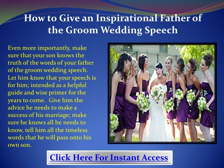 How To Give An Inspirational Father Of The Groom Wedding