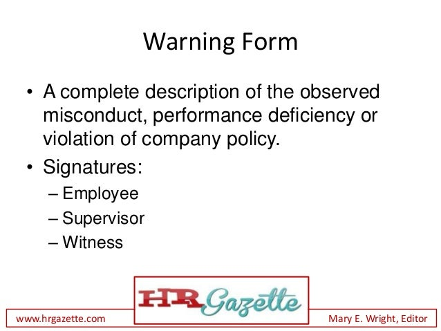 How To Give A Written Warning To An Employee With Form