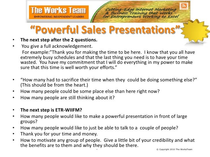 How to give powerful sales presentations working copy