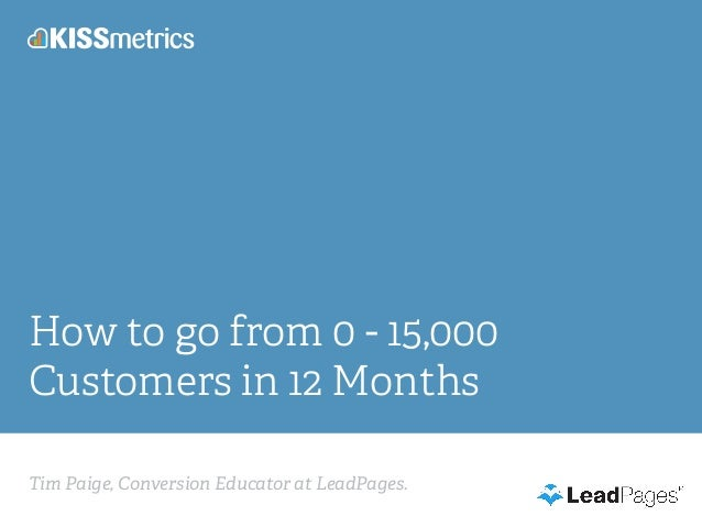 Tim Paige, Conversion Educator at LeadPages. How to go from 0 - 15,000 Customers in 12 Months