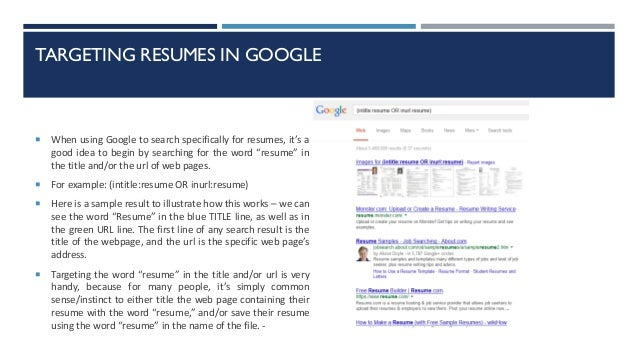 How to google a resume in google